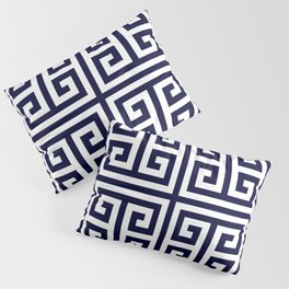 Greek Key Patten White And Navy Blue Pillow Sham