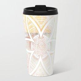 wholeness white mandala on pink Travel Mug