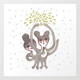 cute creatures feel the love Art Print