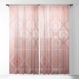 """Millennial Pink Damask Pattern"" Sheer Curtain"