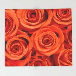 Delicate red roses Throw Blanket