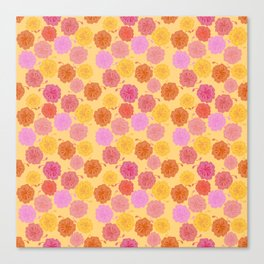 Hibiscus Hawaiian Flowers in Pinks and Corals on Yellow Canvas Print