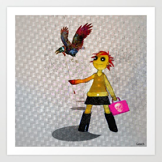 Miss Bella and Archibald his crow Art Print