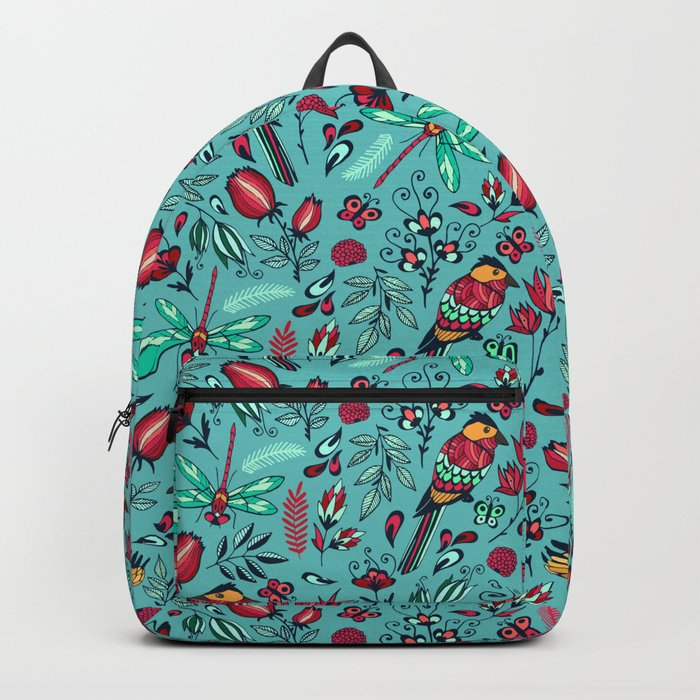 Birds and dragonflies blue pattern Backpack