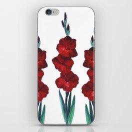 Watercolor red flowers iPhone Skin