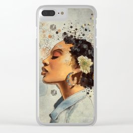 Watercolor whimsical digital portrait painting Clear iPhone Case