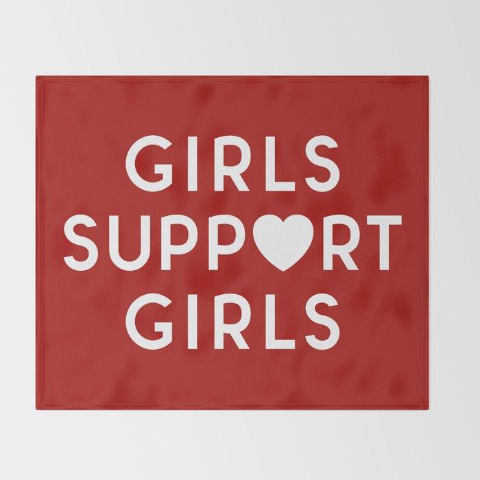 Girls Support Girls Feminist Quote Throw Blanket