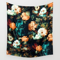 vintage floral Wall Tapestries featuring Vintage Floral by Burcu Korkmazyurek