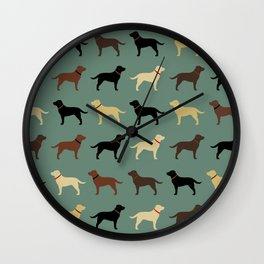 Labrador Retriever Dog Silhouettes Pattern Wall Clock