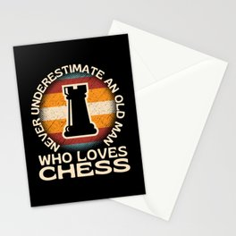 Old Man Who Loves Chess Stationery Cards