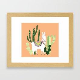 Cute Llama with Cactus Framed Art Print