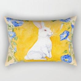 White Rabbit in Blue Flowers Rectangular Pillow