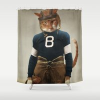 nfl Shower Curtains featuring Quarterback Beans by The Lonely Pixel