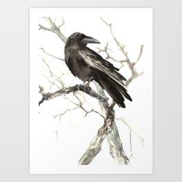 Raven on the Tree Art Print