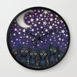 black cats, stars, & moon Wall Clock