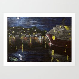 Moonlit Carenage Art Print