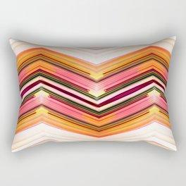 Geometric Wave - Red Orange Futuristic Geometric Abstract Rectangular Pillow