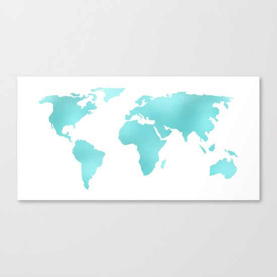 World Map Turquoise Shimmery Map Canvas Print