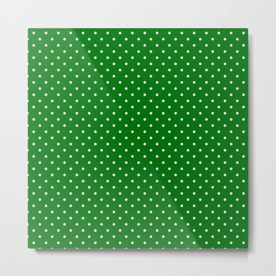 Small White Polkadot Love Heart on Christmas Green by podartist