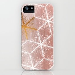 Elegant Geometric Gold Snowflakes Holiday Pattern iPhone Case