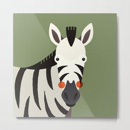 Zebra, Animal Portrait Metal Print