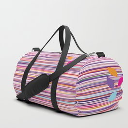 multicolored stripes pattern with leaves Duffle Bag