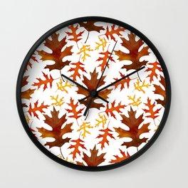 Rust, Brown, Red Orange Oak Leaf Repeated Textile Design 1 Wall Clock