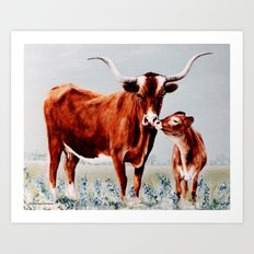 Longhorns painting Art Print