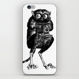 Say Cheese! | Tarsier with Vintage Camera | Black and White iPhone Skin
