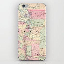 Vintage Map of Washington State (1874) iPhone Skin