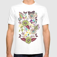 Large Bright Blooms MEDIUM White Mens Fitted Tee