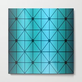 Diamond Pattern - Blue Metal Print