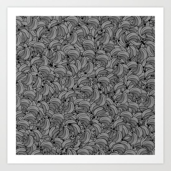 Plenty of Bananas - Gray Art Print
