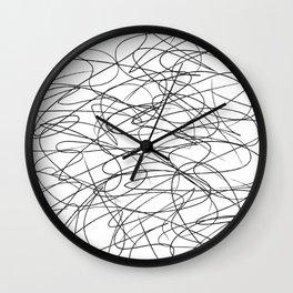 Hand Drawn Scribbles (black/white) Wall Clock