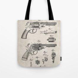 Western Revolver Patent - Antique Firearm Art - Antique Tote Bag