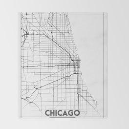 Minimal City Maps - Map Of Chicago, Illinois, United States Throw Blanket