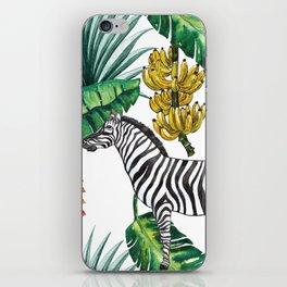 watercolor banana leaves with zebra iPhone Skin