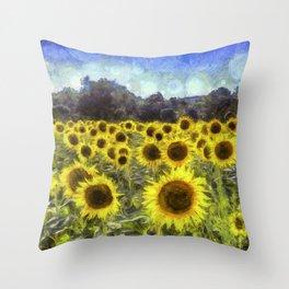 Sunflower Fields Of Dreams Art Throw Pillow