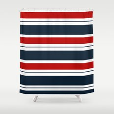 Red  White  And Blue Hor Stroke Shower Curtains   Society6. Red And Blue Shower Curtain. Home Design Ideas