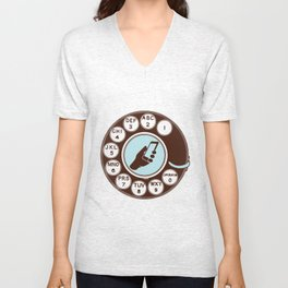 Dial numbers with analoque mobile Unisex V-Neck