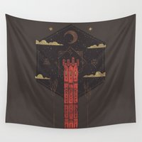occult Wall Tapestries featuring The Crimson Tower by Hector Mansilla