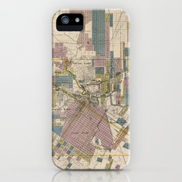 Vintage Map of Houston Texas (1895) iPhone Case