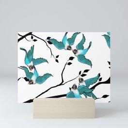 Lovebirds Pattern — Teal • Black Mini Art Print