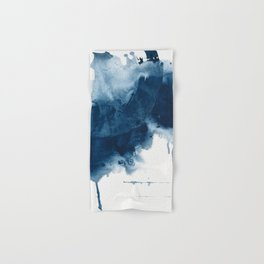 Where does the dance begin? A minimal abstract acrylic painting in blue and white by Alyssa Hamilton Hand & Bath Towel
