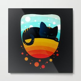 054 Sleepy kitty over the rainbow holding an owl on its tail Metal Print
