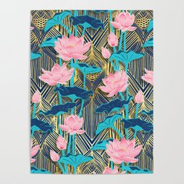Art Deco Lotus Flowers in Pink & Navy Poster