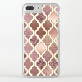 Rosegold Pink and Copper Moroccan Tile Pattern Clear iPhone Case