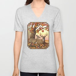 Whitetail Deer Doe & Trophy Buck Maple Trees Fall Colors Unisex V-Neck
