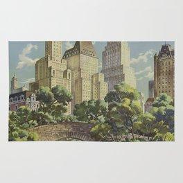 New York, United Airlines - Vintage Travel Poster Rug