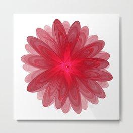Red Flower Bloom Fractal Metal Print